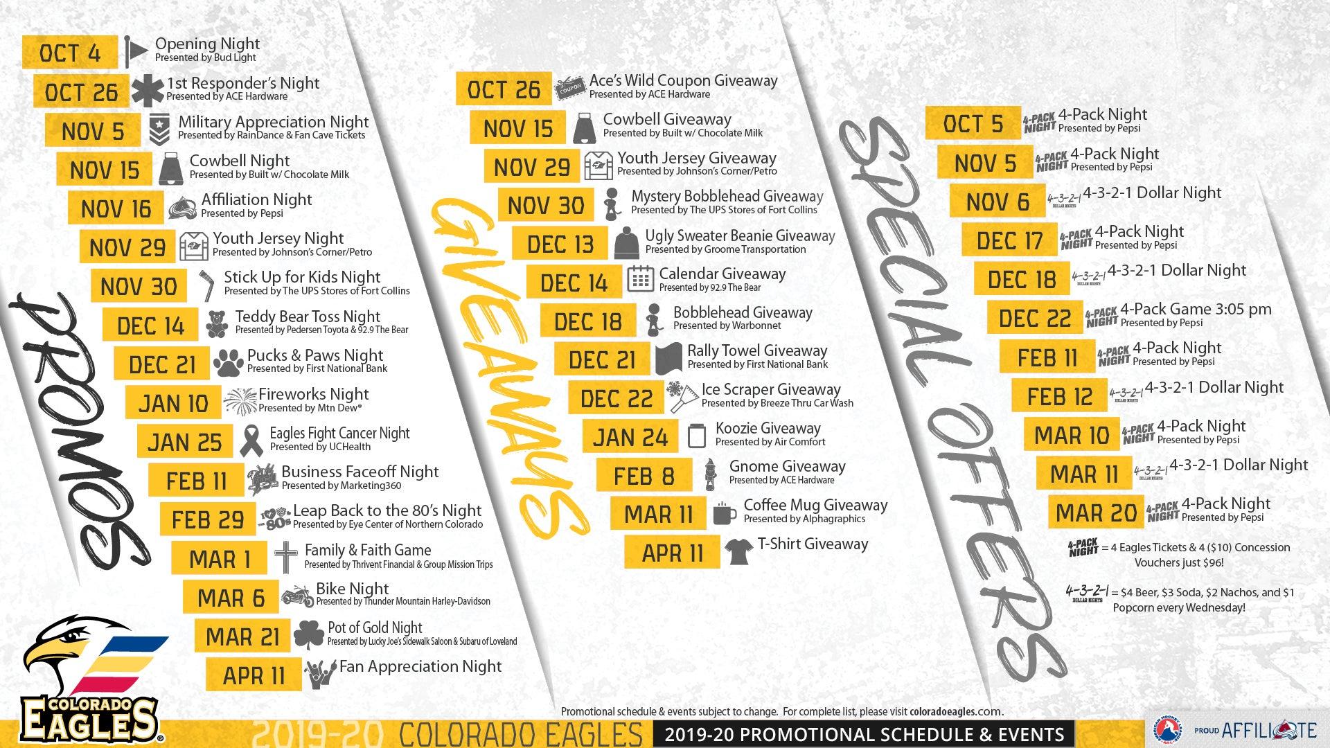 Promotions Schedule | Colorado Eagles