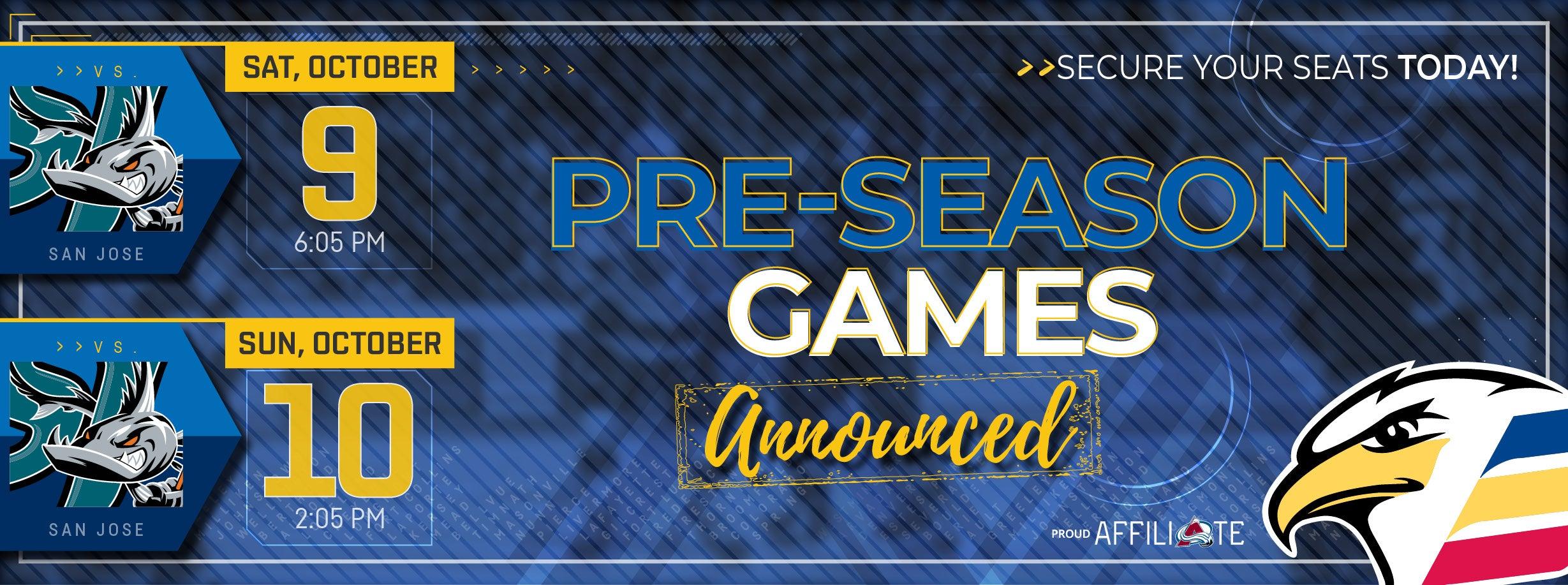 Colorado to Host San Jose in Pair of Preseason Games