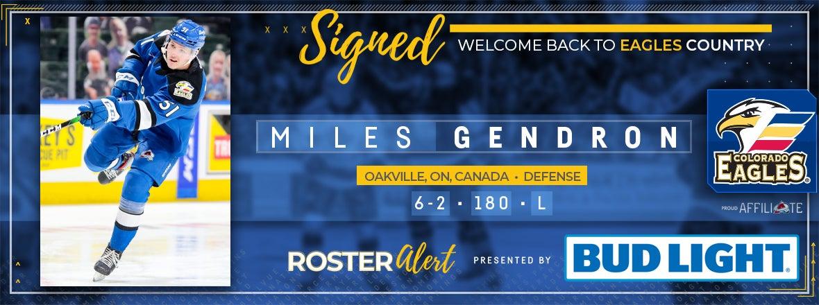 Eagles Re-Sign Defenseman Miles Gendron